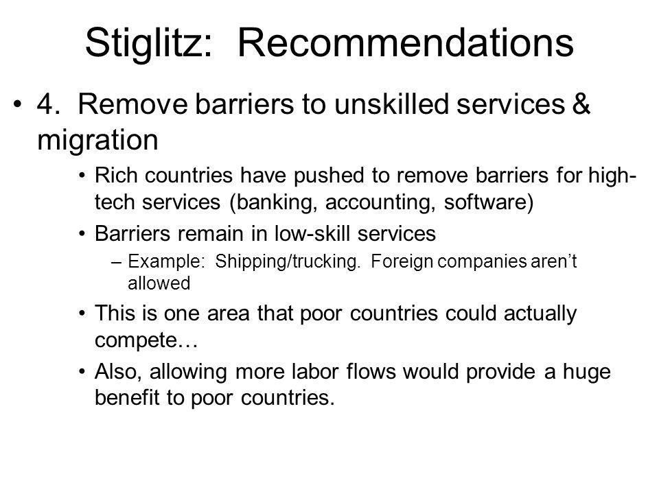 Stiglitz: Recommendations