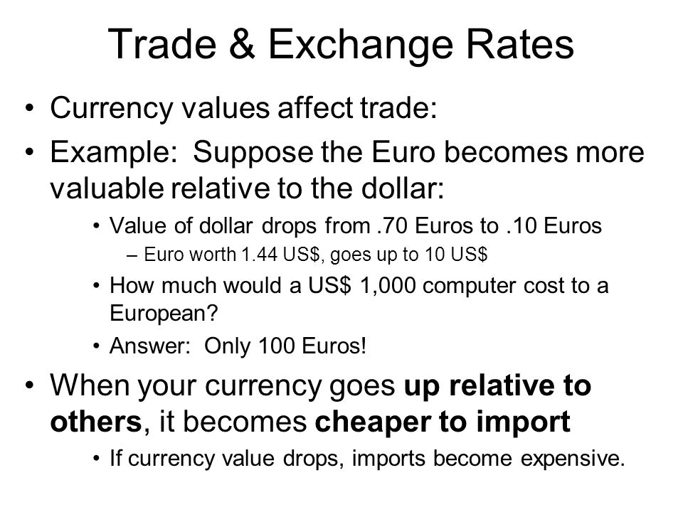 Trade & Exchange Rates Currency values affect trade: