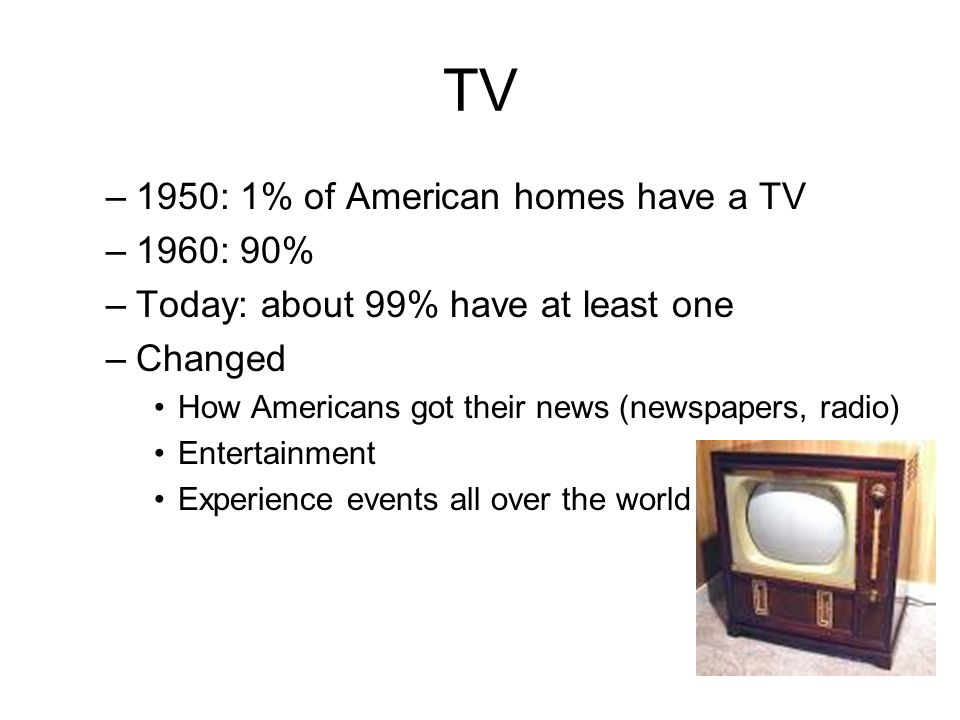 TV 1950: 1% of American homes have a TV 1960: 90%