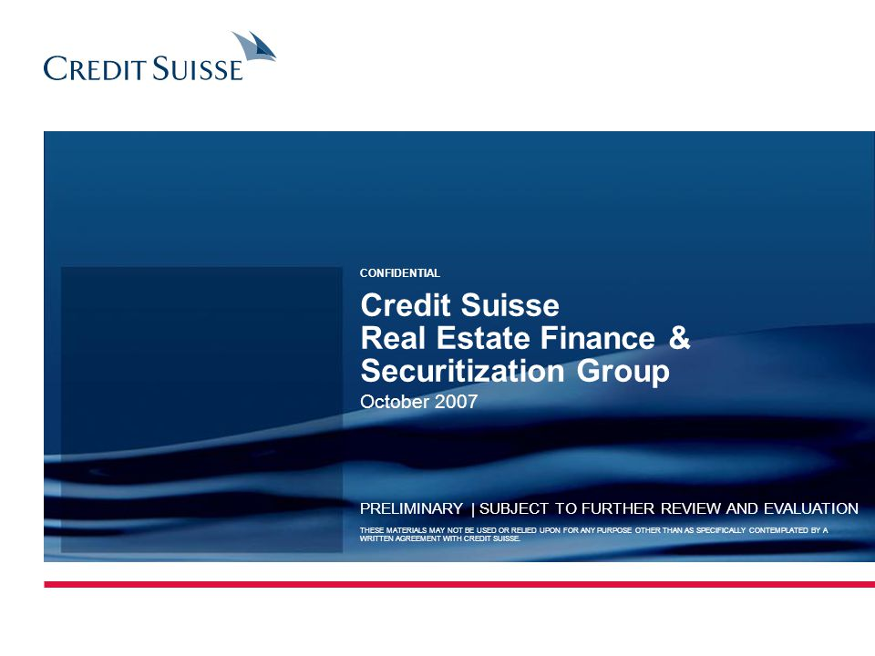 Credit Suisse Real Estate Finance & Securitization Group