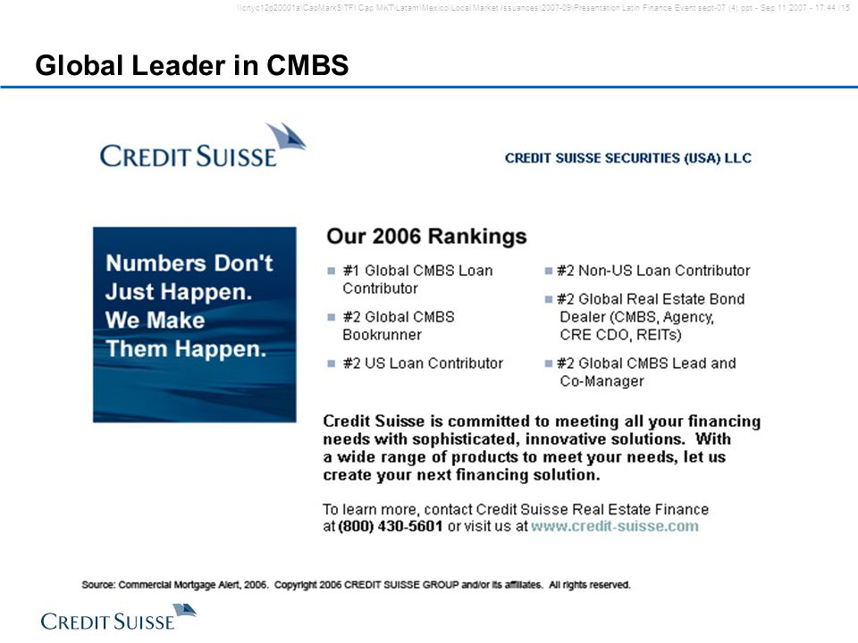 Global Leader in CMBS