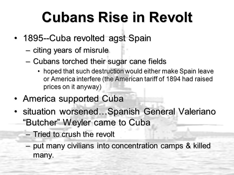 Cubans Rise in Revolt 1895--Cuba revolted agst Spain