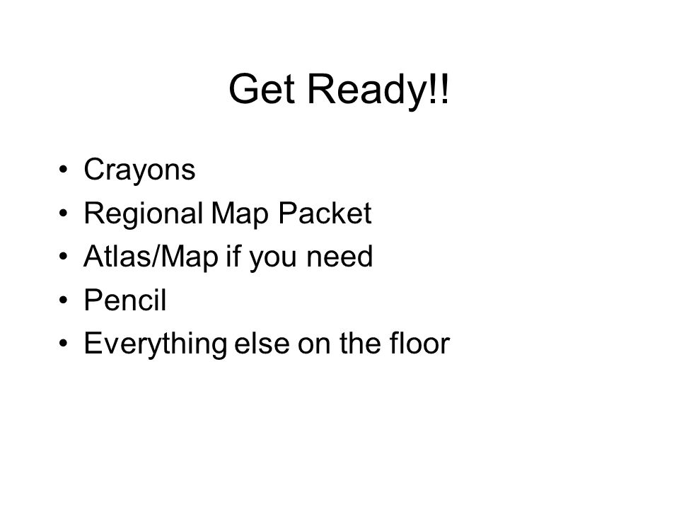 Get Ready!! Crayons Regional Map Packet Atlas/Map if you need Pencil