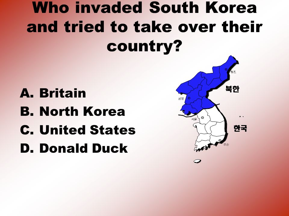 Who invaded South Korea and tried to take over their country