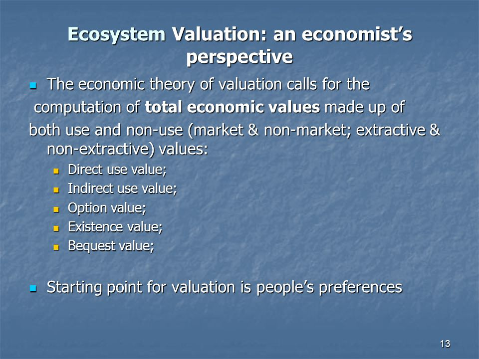 Ecosystem Valuation: an economist's perspective