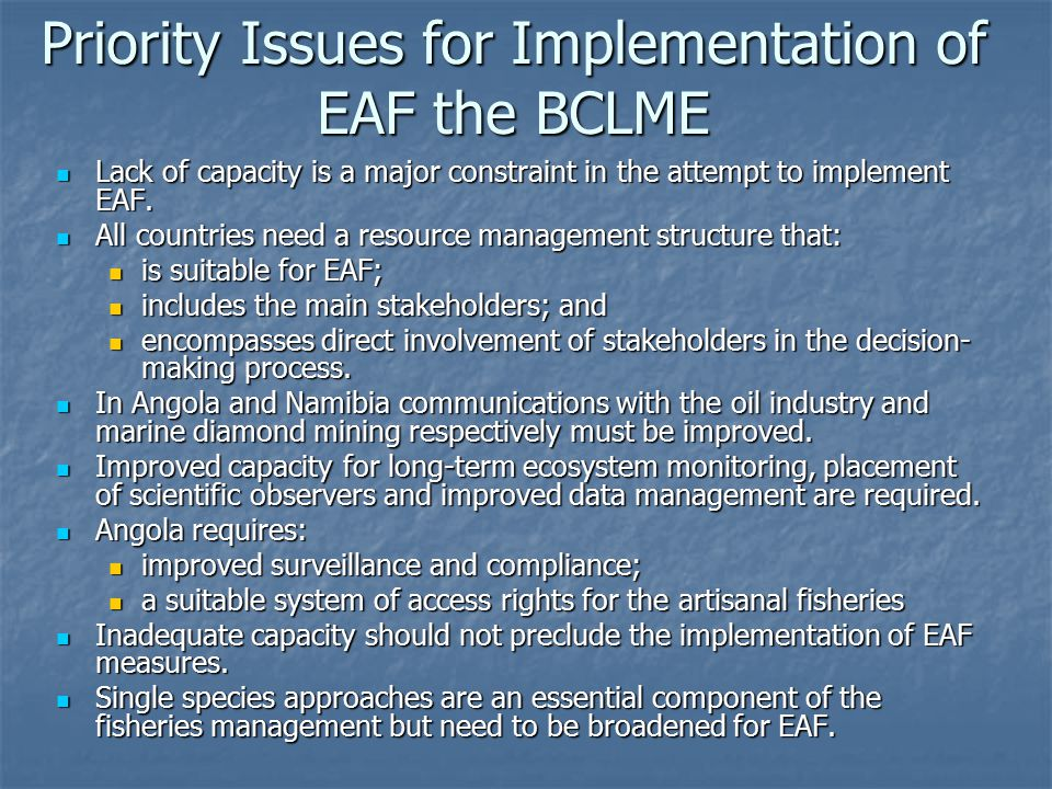 Priority Issues for Implementation of EAF the BCLME