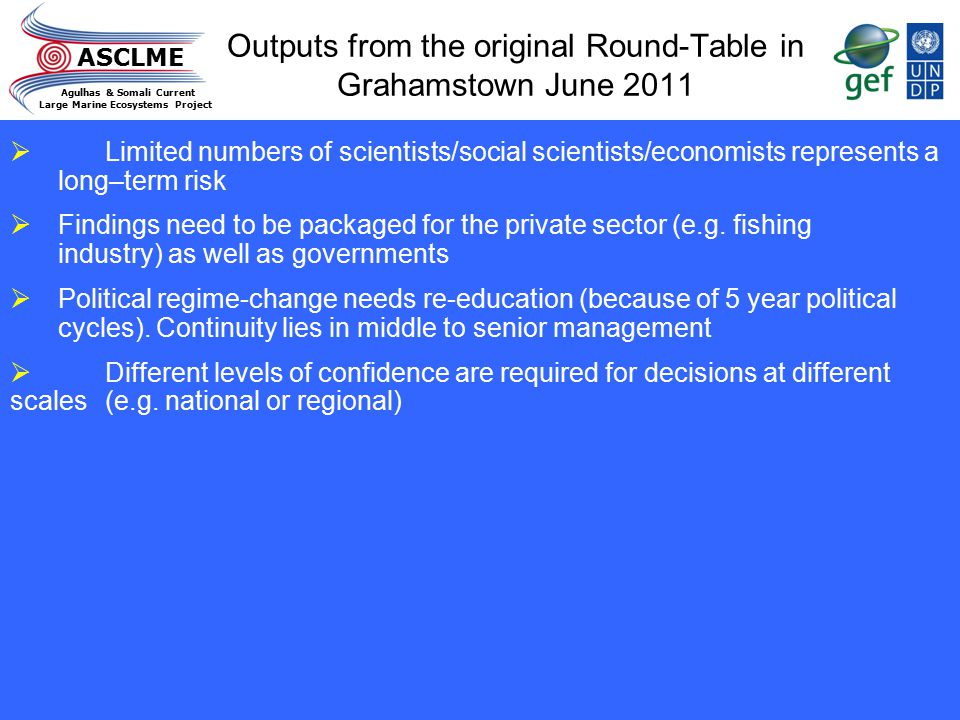 Outputs from the original Round-Table in Grahamstown June 2011