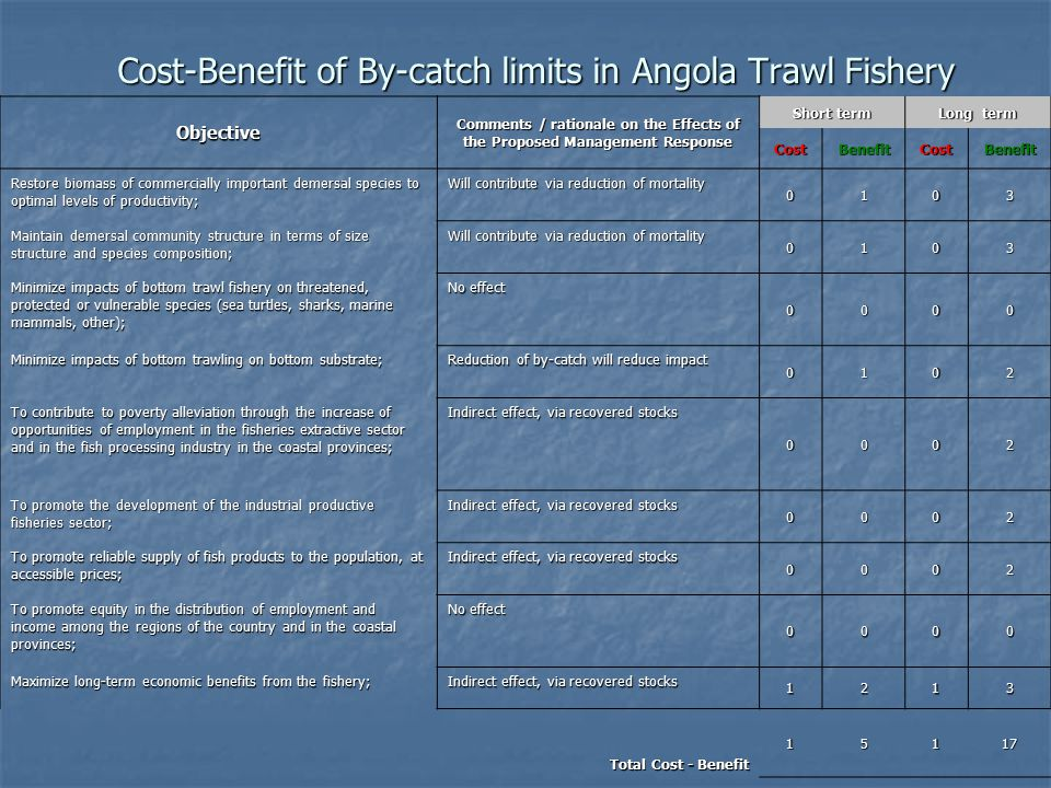 Cost-Benefit of By-catch limits in Angola Trawl Fishery