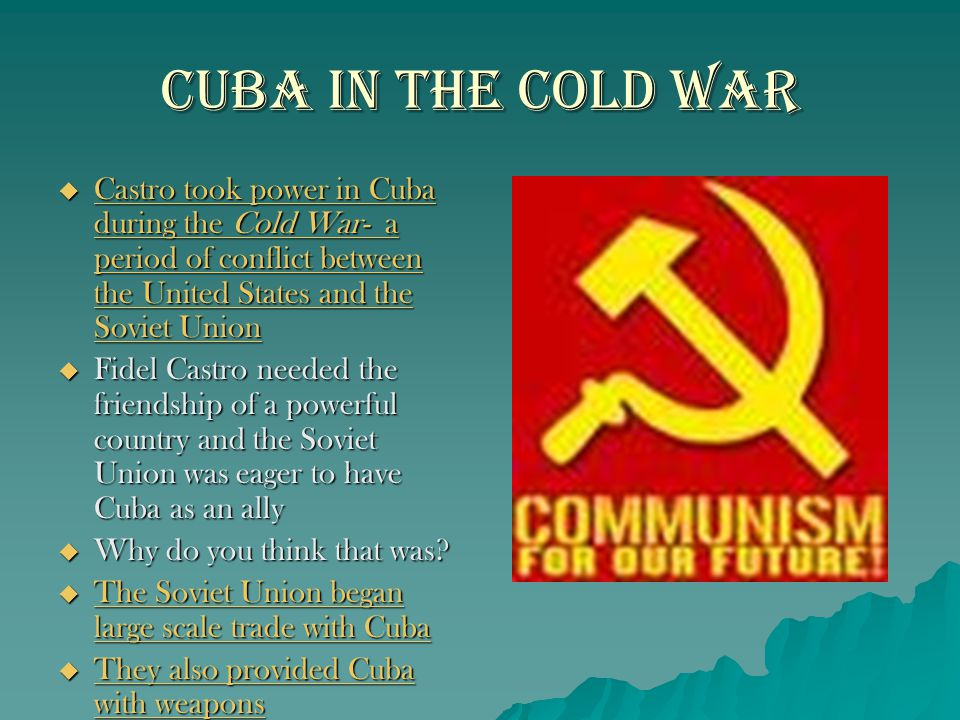 Cuba in the Cold War Castro took power in Cuba during the Cold War- a period of conflict between the United States and the Soviet Union.