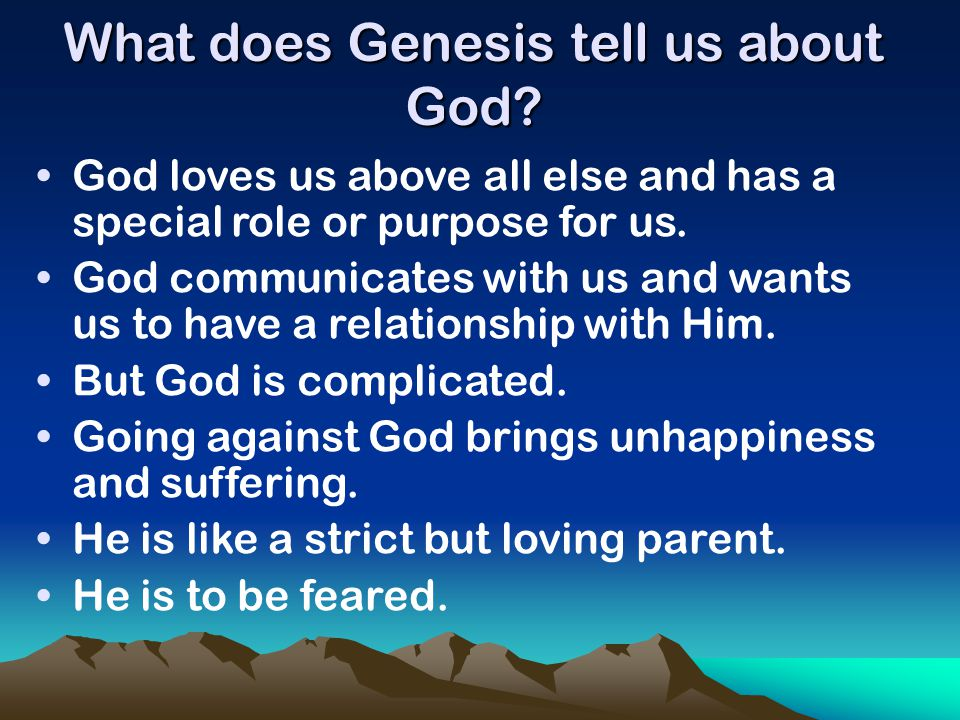 What does Genesis tell us about God