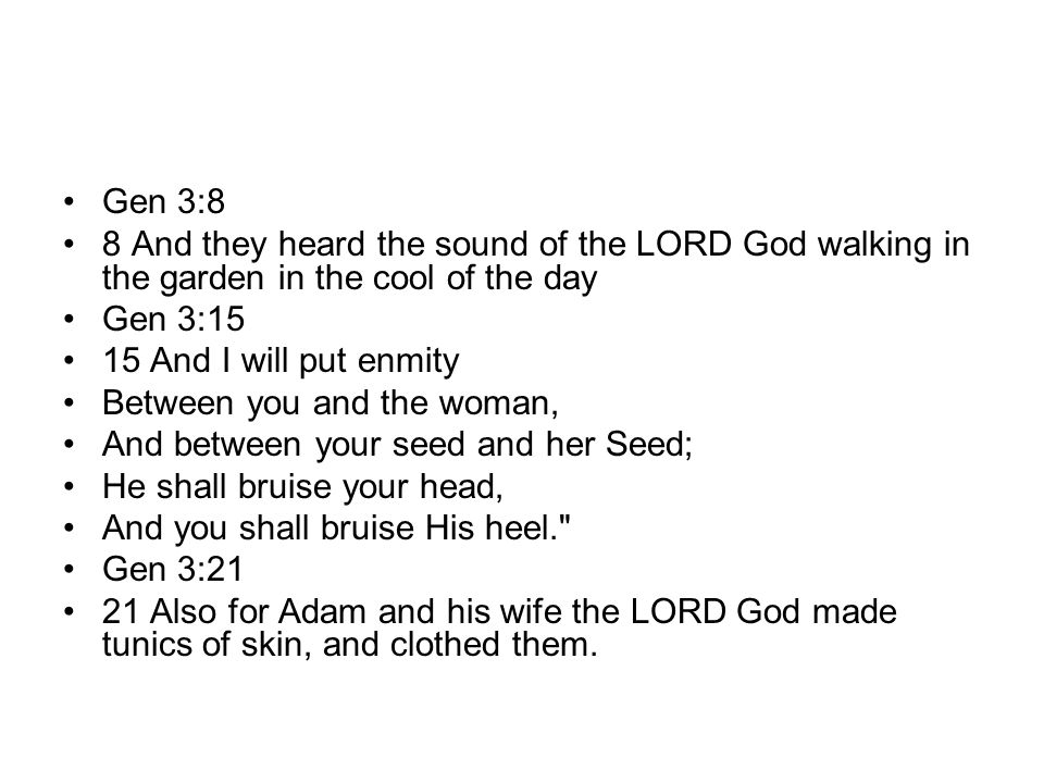 Gen 3:8 8 And they heard the sound of the LORD God walking in the garden in the cool of the day. Gen 3:15.