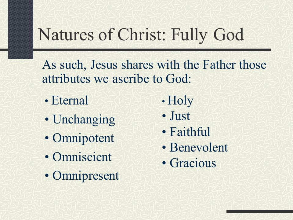 Natures of Christ: Fully God
