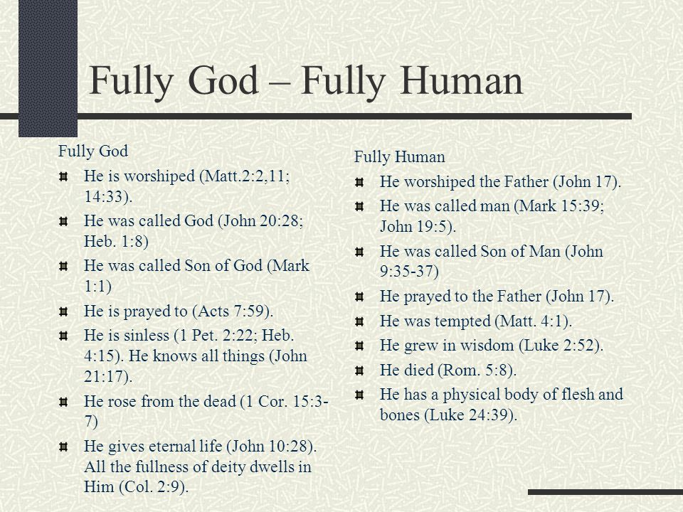 Fully God – Fully Human Fully God Fully Human