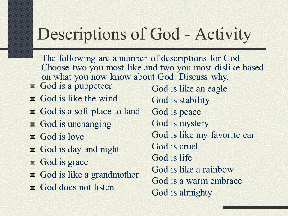 Descriptions of God - Activity