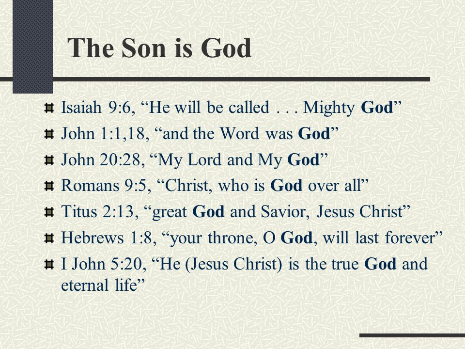 The Son is God Isaiah 9:6, He will be called . . . Mighty God
