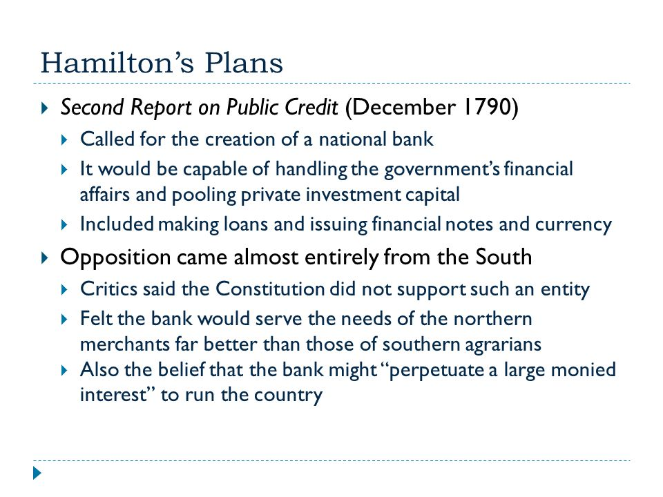 Hamilton's Plans Second Report on Public Credit (December 1790)