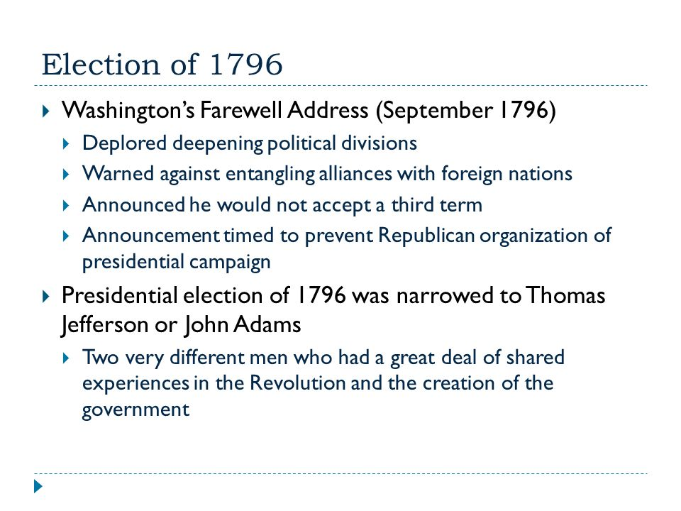Election of 1796 Washington's Farewell Address (September 1796)