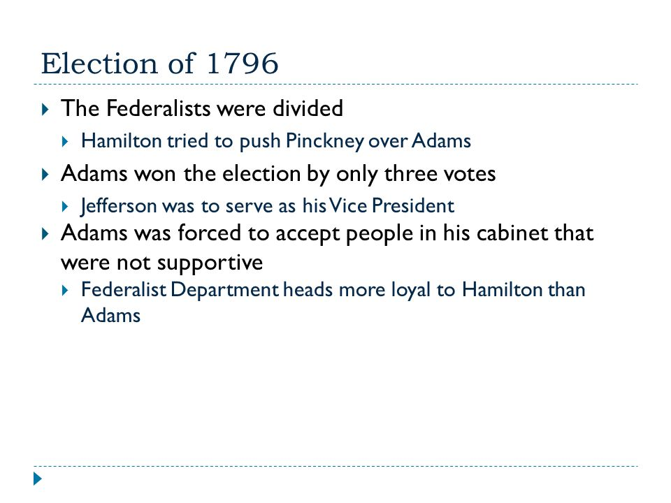 Election of 1796 The Federalists were divided