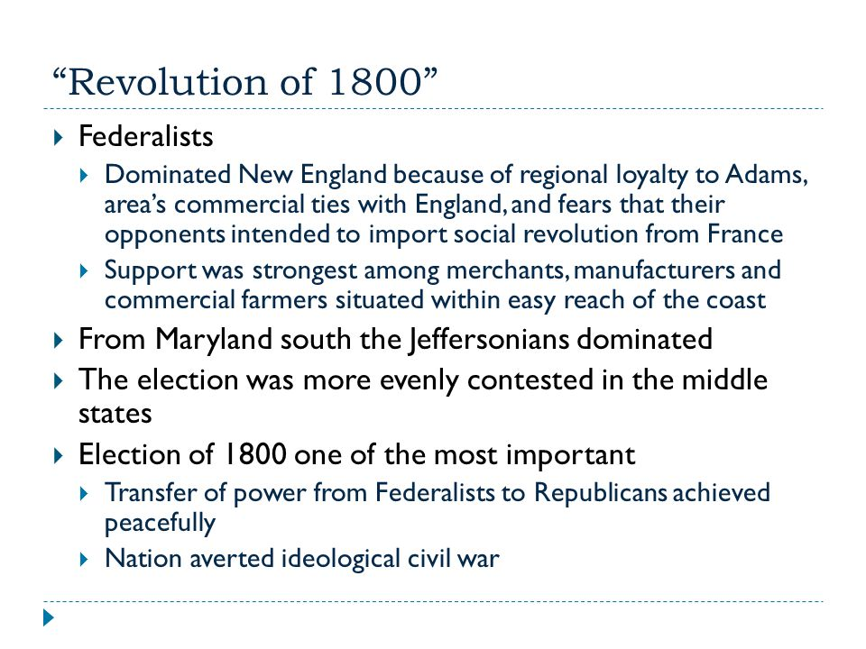 Revolution of 1800 Federalists