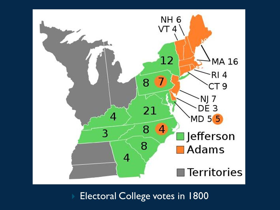 Electoral College votes in 1800