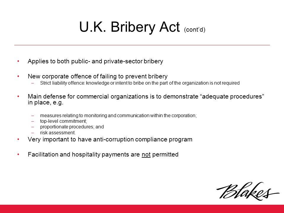 U.K. Bribery Act (cont'd)