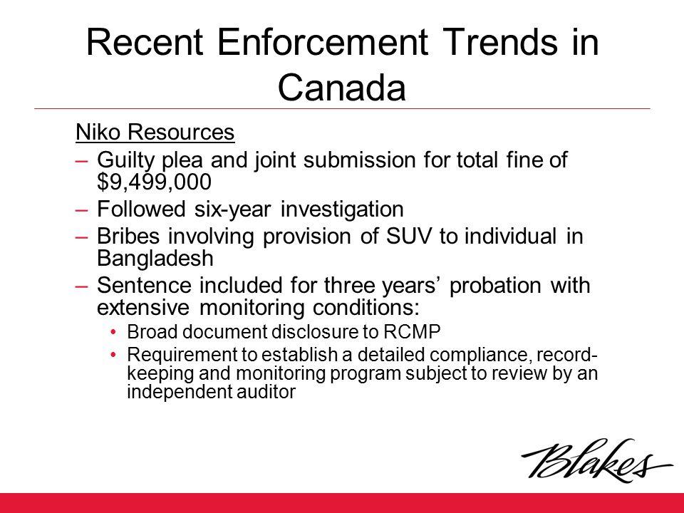 Recent Enforcement Trends in Canada