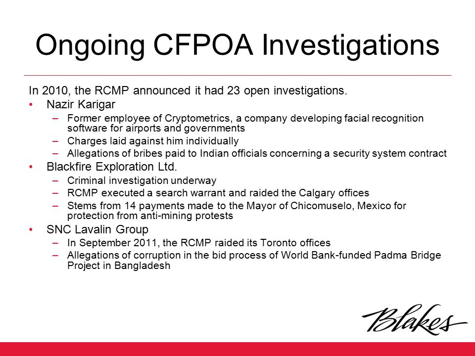 Ongoing CFPOA Investigations