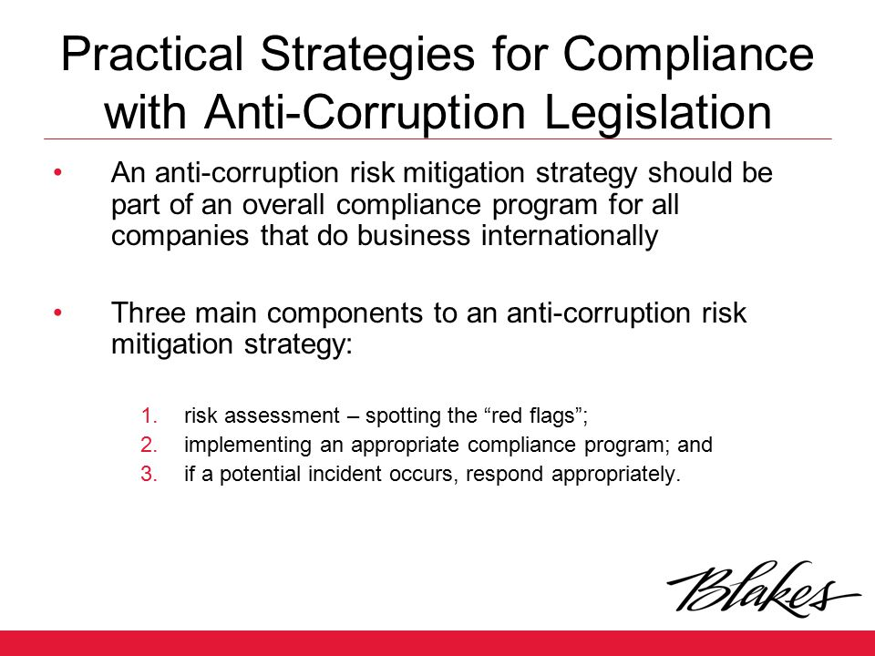 Practical Strategies for Compliance with Anti-Corruption Legislation