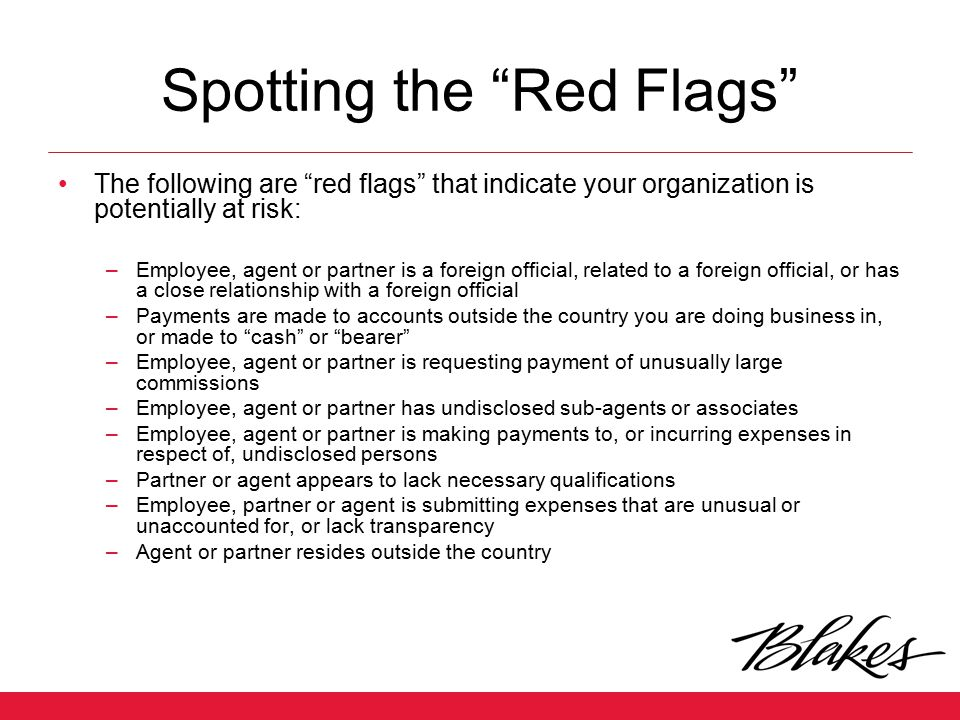 Spotting the Red Flags