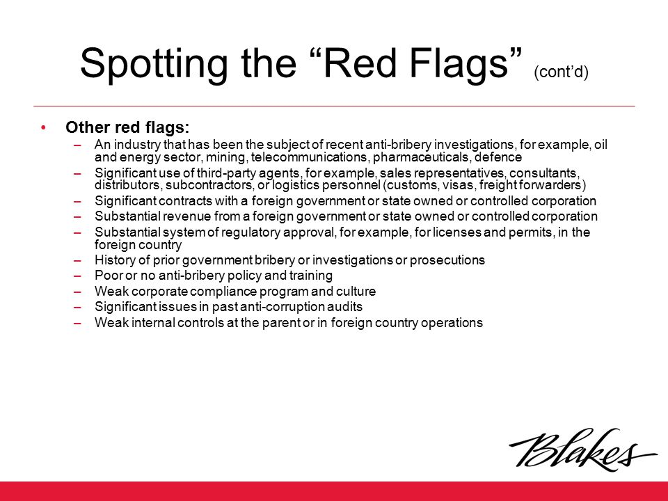 Spotting the Red Flags (cont'd)