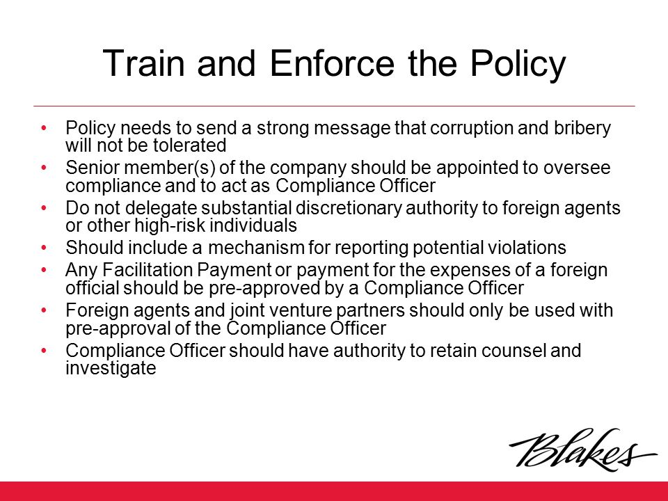 Train and Enforce the Policy