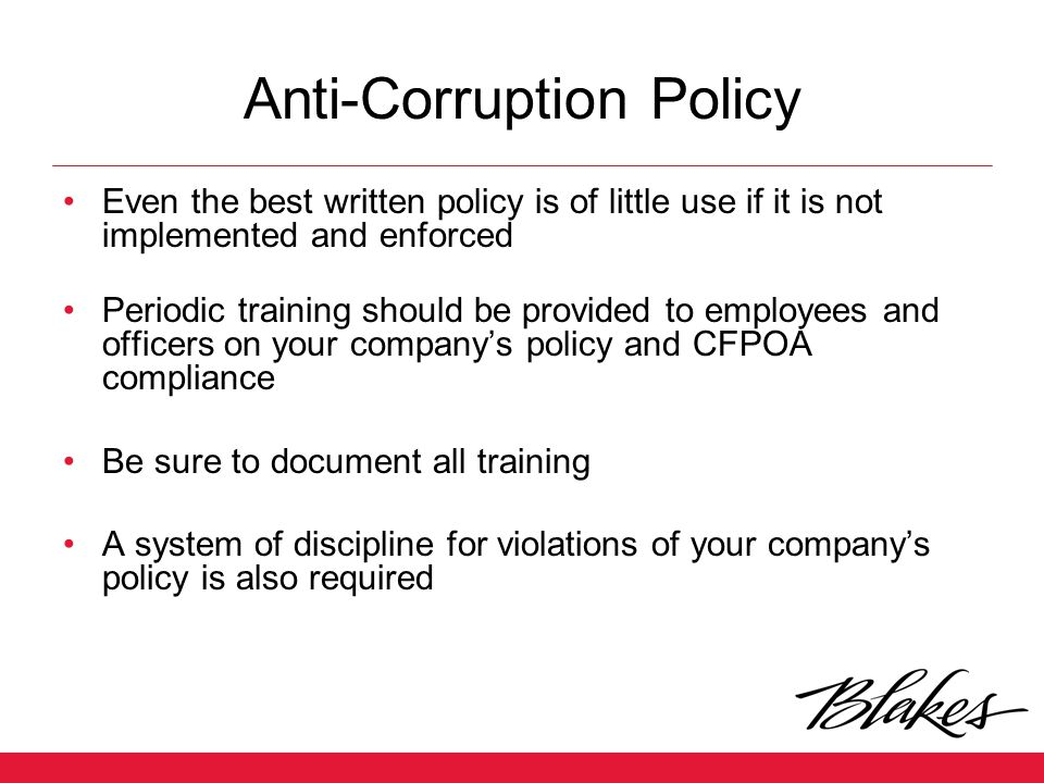 Anti-Corruption Policy