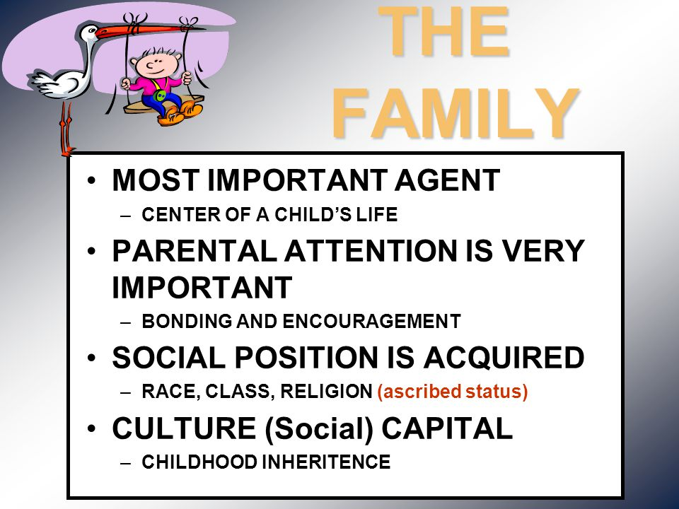 THE FAMILY MOST IMPORTANT AGENT PARENTAL ATTENTION IS VERY IMPORTANT