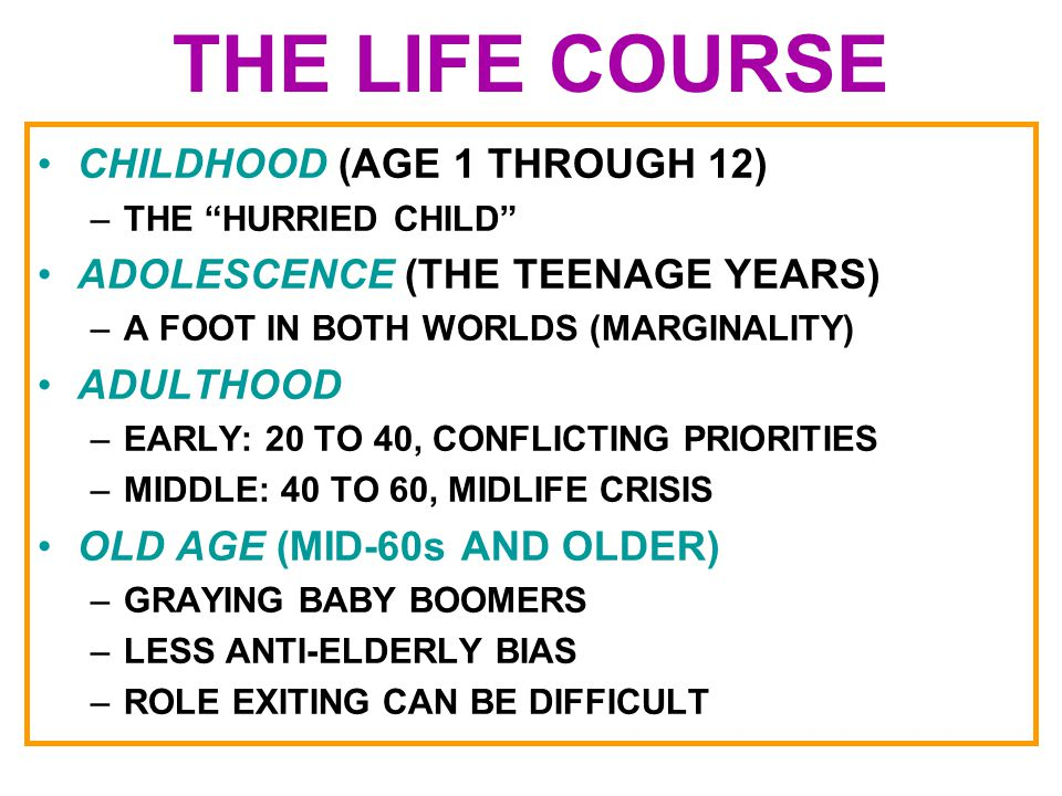 THE LIFE COURSE CHILDHOOD (AGE 1 THROUGH 12)
