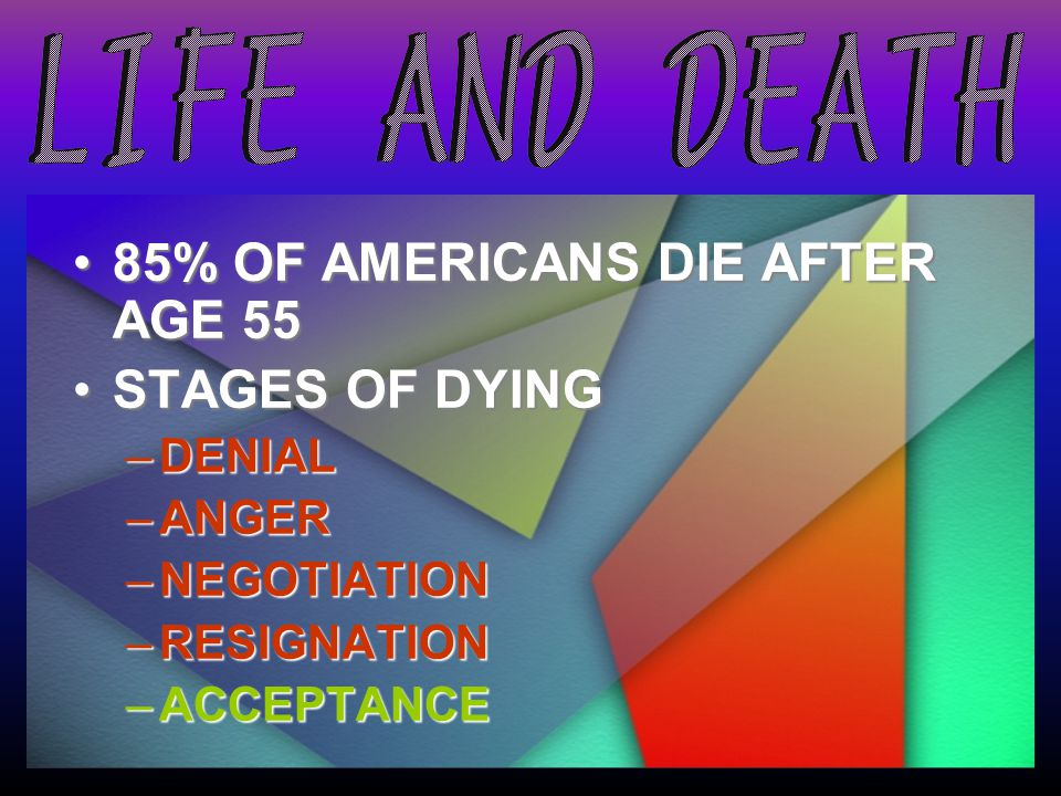 85% OF AMERICANS DIE AFTER AGE 55 STAGES OF DYING