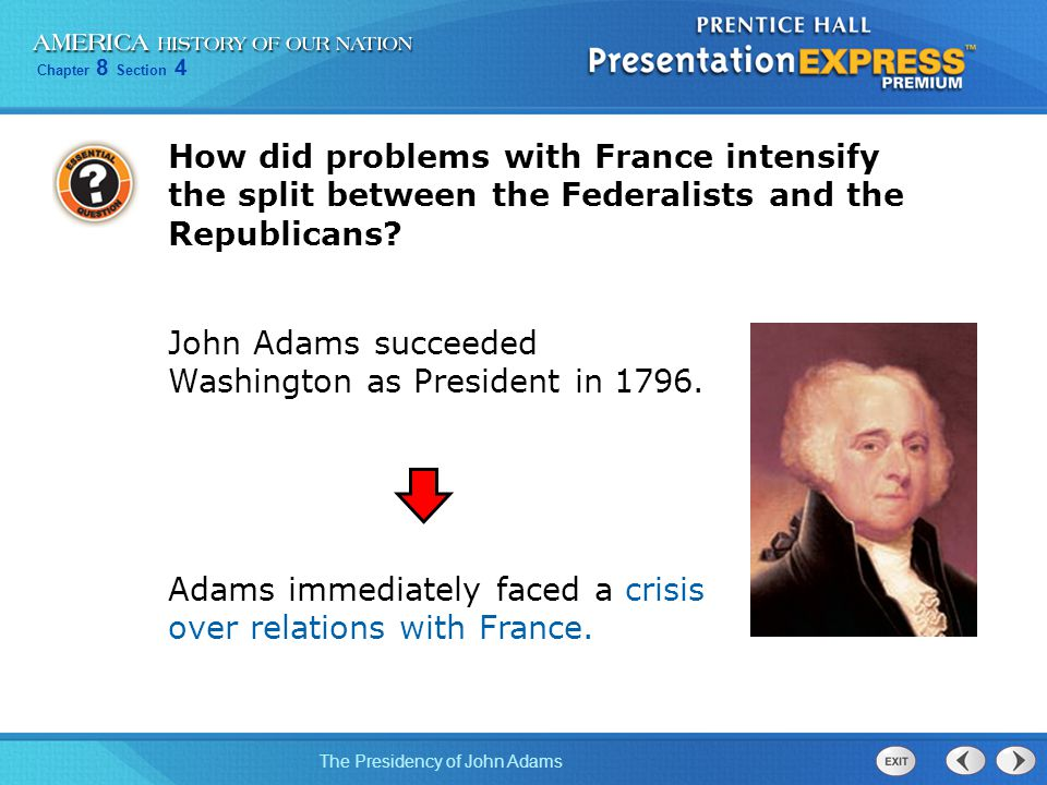 How did problems with France intensify the split between the Federalists and the Republicans