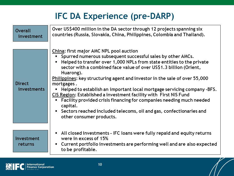 IFC DA Experience (pre-DARP)