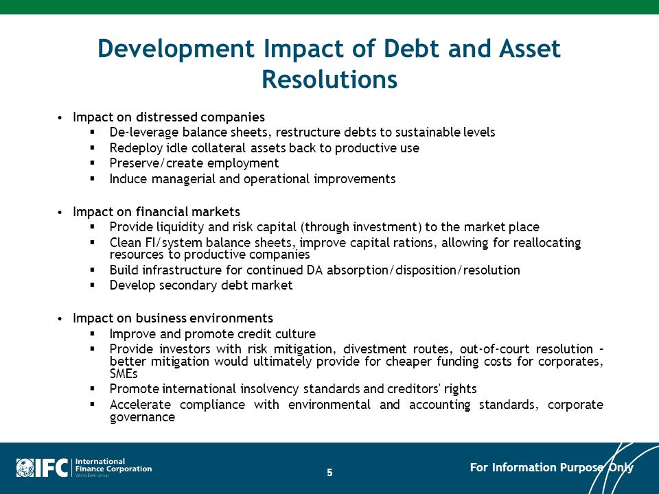 Development Impact of Debt and Asset Resolutions