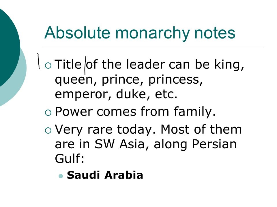 Absolute monarchy notes