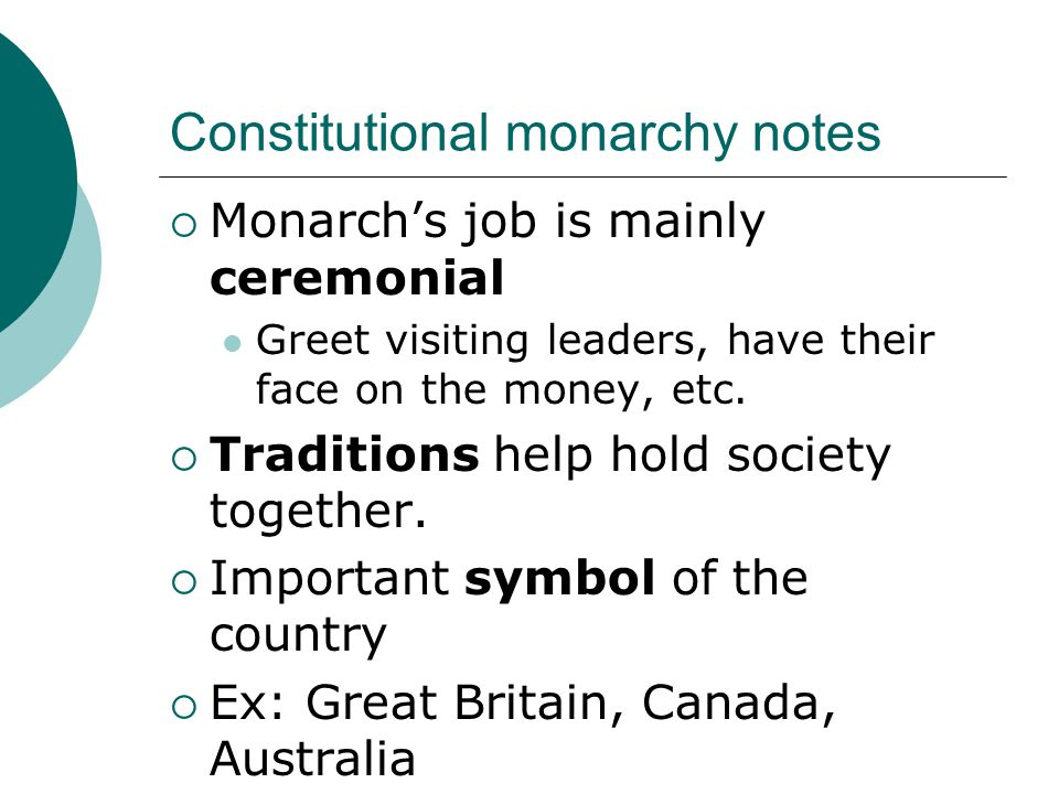 Constitutional monarchy notes