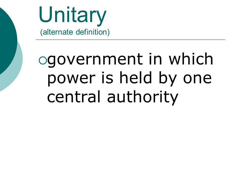 Unitary (alternate definition)