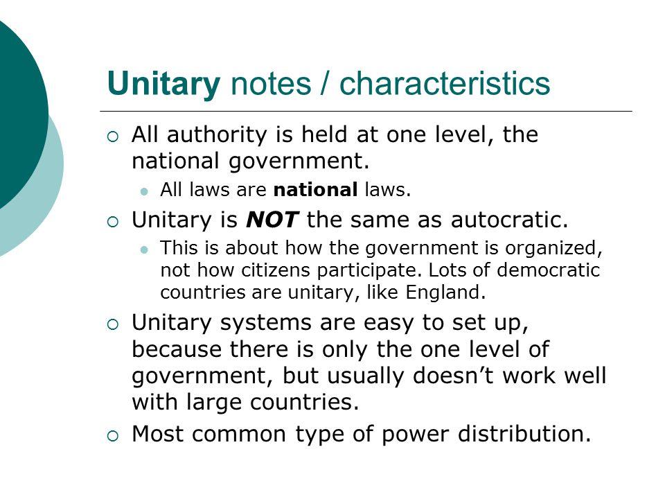 Unitary notes / characteristics