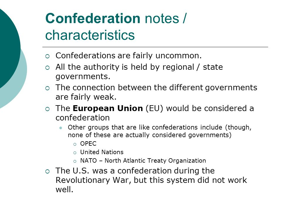 Confederation notes / characteristics