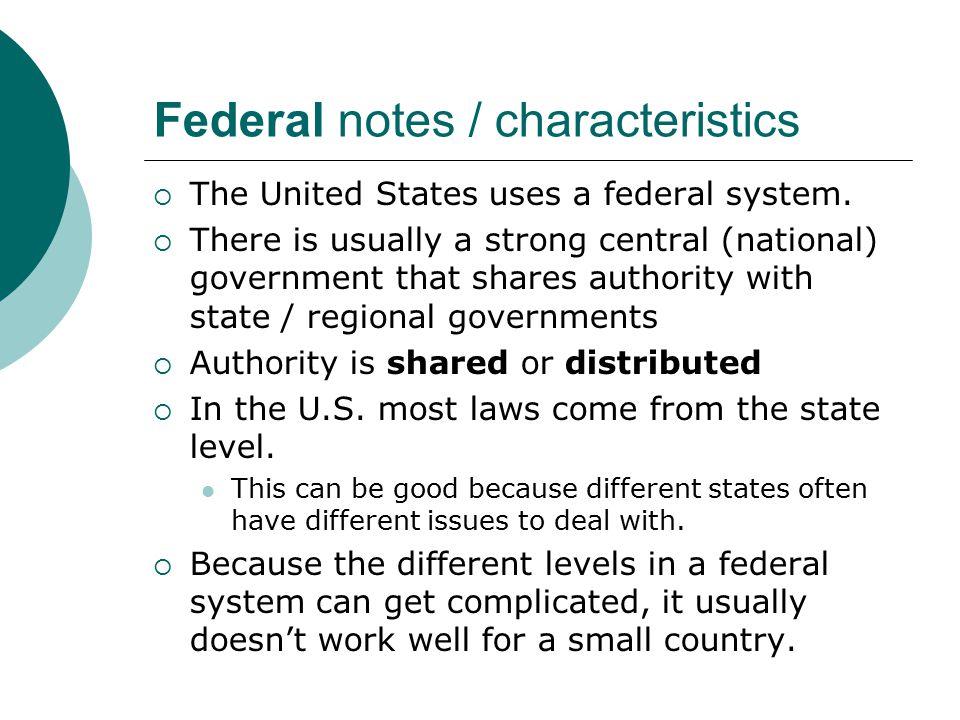 Federal notes / characteristics
