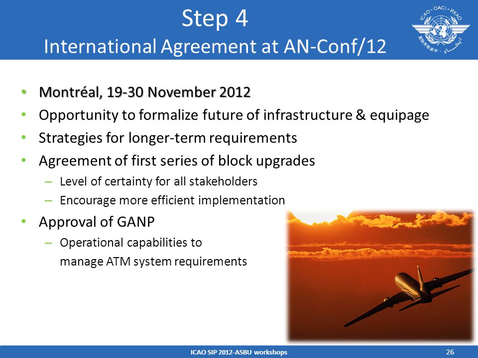 Step 4 International Agreement at AN-Conf/12
