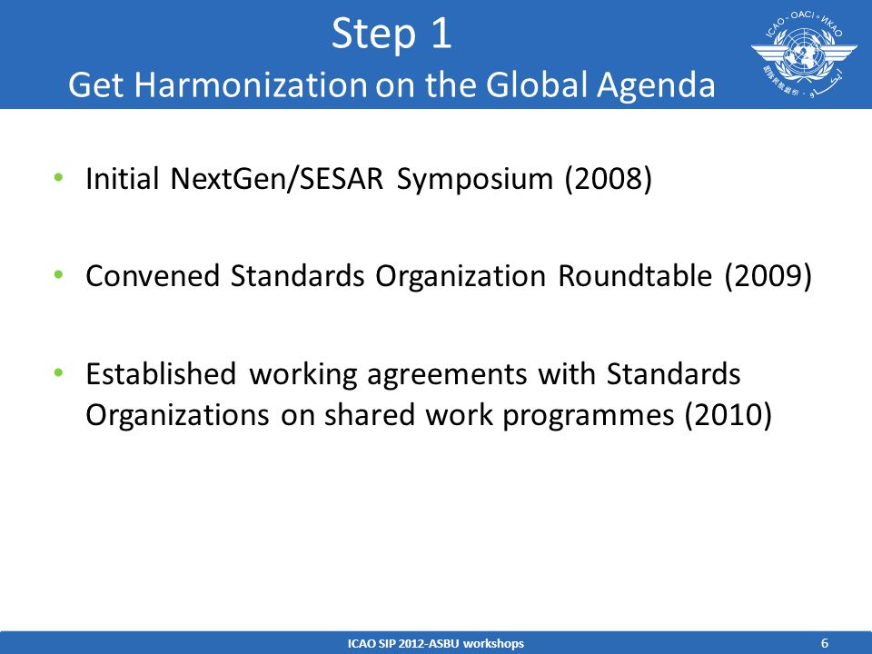 Step 1 Get Harmonization on the Global Agenda