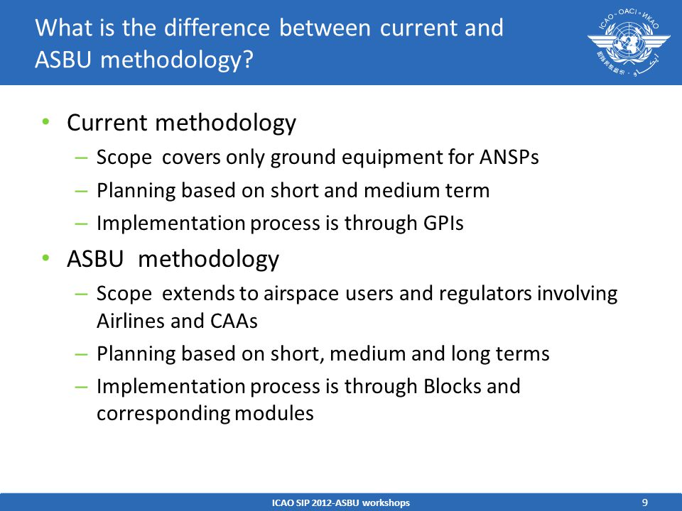 What is the difference between current and ASBU methodology