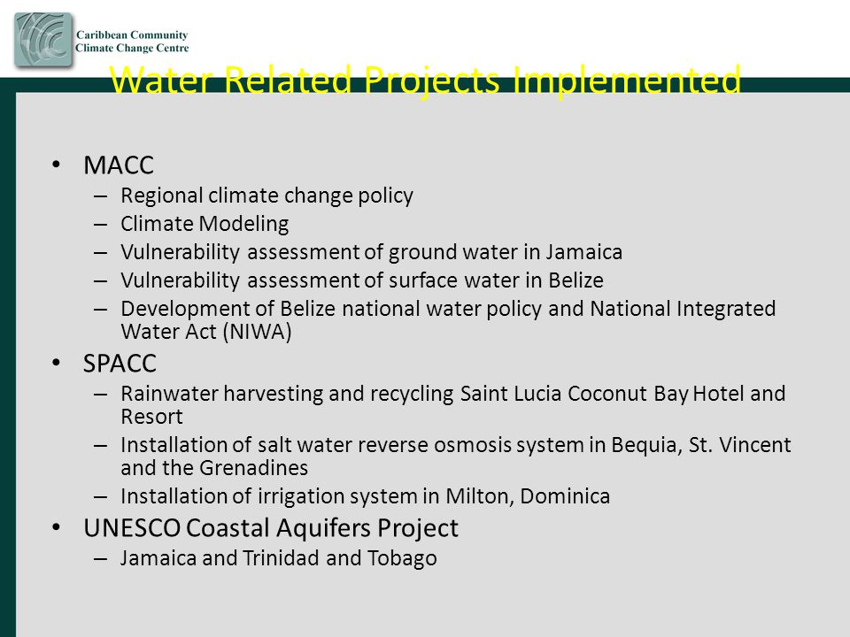 Water Related Projects Implemented