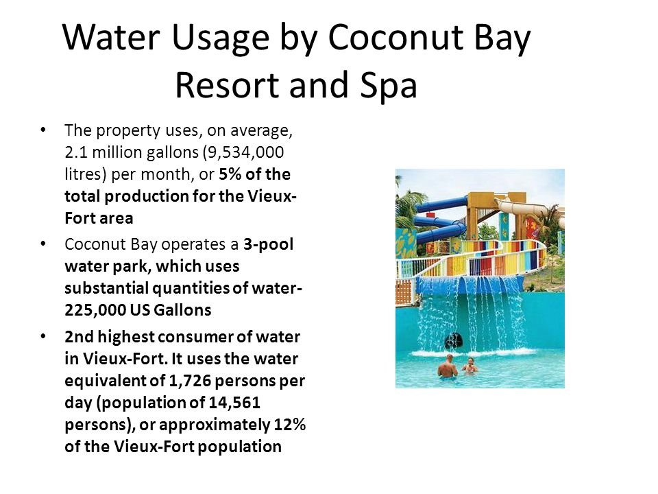 Water Usage by Coconut Bay Resort and Spa