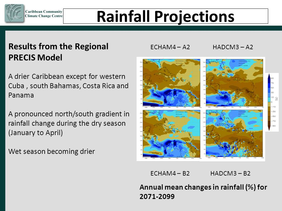 Rainfall Projections Results from the Regional PRECIS Model